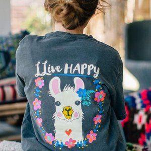 Natural Life llama 'llive happy' t-shirt NWT